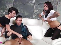 Babe, Brunette, Pornstar, Threesome