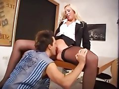 Blonde, German, Pantyhose, Secretary, Stockings