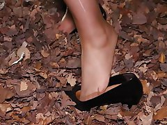 Foot Fetish, Footjob, Pantyhose, Outdoor, Stockings