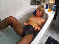 Amateur, Blonde, Masturbation, Stockings
