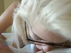 Blonde, Blowjob, Facial, Handjob, POV